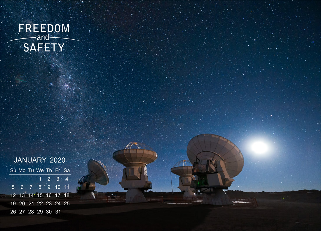Freedom and Safety January 2020 Calendar