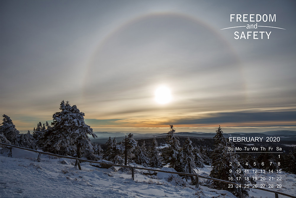 Freedom and Safety February 2020 Calendar